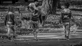 Drei Brüder nach dem Kastanien sammeln